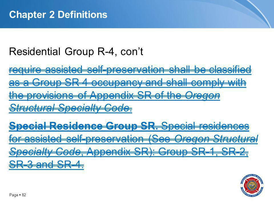 Page 82 Chapter 2 Definitions Residential Group R-4, cont require assisted self-preservation shall be classified as a Group SR 4 occupancy and shall c