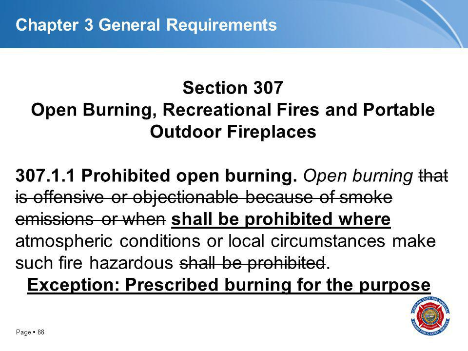 Page 88 Chapter 3 General Requirements Section 307 Open Burning, Recreational Fires and Portable Outdoor Fireplaces 307.1.1 Prohibited open burning. O
