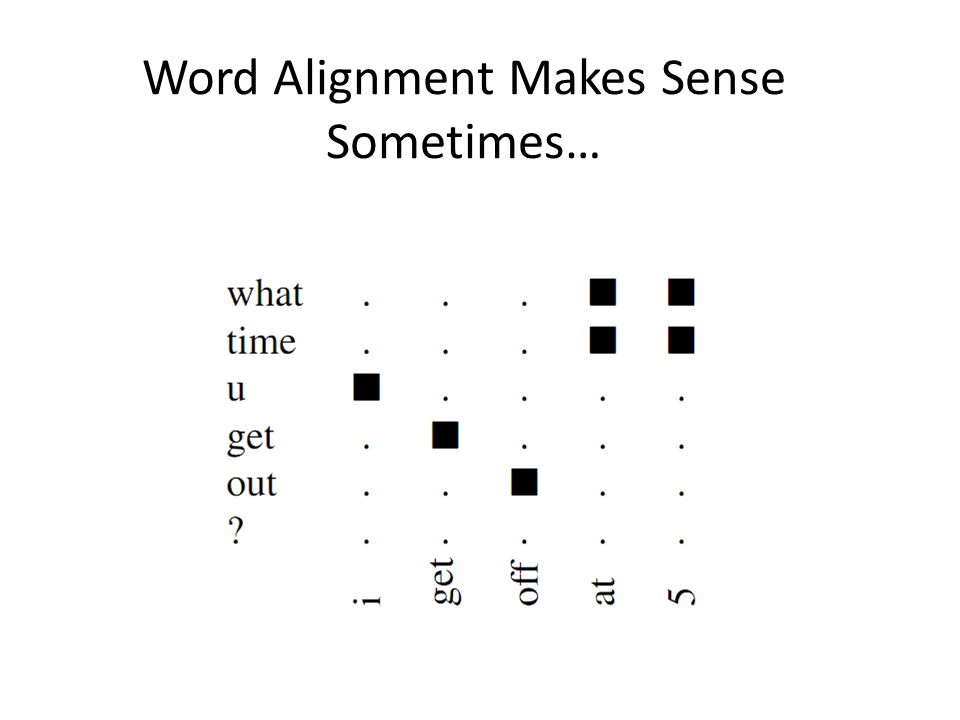 Word Alignment Makes Sense Sometimes…