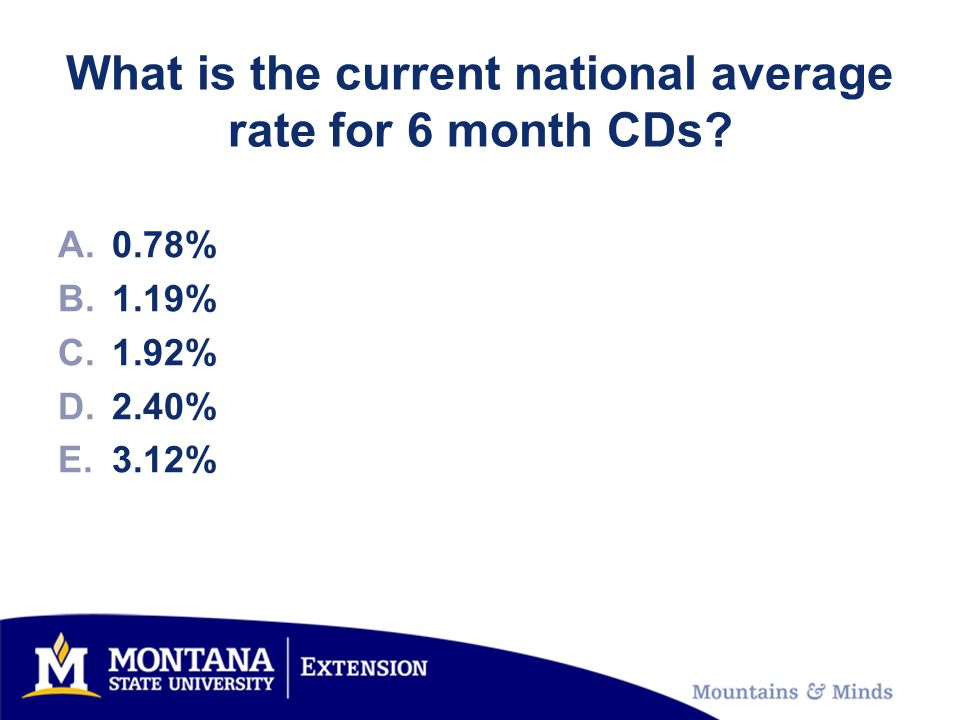 What is the current national average rate for 6 month CDs A.0.78% B.1.19% C.1.92% D.2.40% E.3.12%