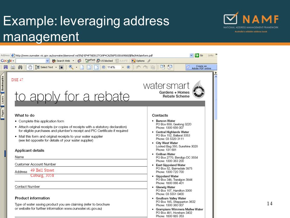 Example: leveraging address management 49 Bell Street Coburg, 3058 DSE 47 14