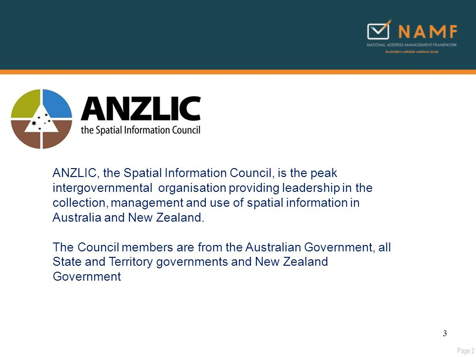 ANZLIC, the Spatial Information Council, is the peak intergovernmental organisation providing leadership in the collection, management and use of spatial information in Australia and New Zealand.