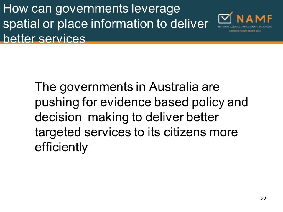 How can governments leverage spatial or place information to deliver better services The governments in Australia are pushing for evidence based policy and decision making to deliver better targeted services to its citizens more efficiently 30