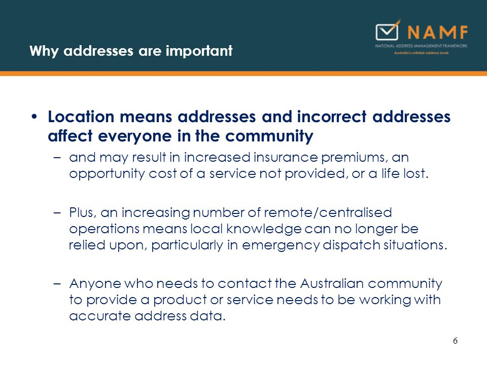 Example: leveraging address management DSE 47 VMAS 49 Bell Street Coburg North, 3058 DSE assistance contact: Port Phillip Regional Office 30 Prospect St Box Hill 3128 Phone: 03 92964400 transaction log Date and Time: 20051024, 09:45:23 Transaction type: DSE 47 Address: 49 Bell Street, Coburg North 3058 Transaction location (CD): 2010342 17