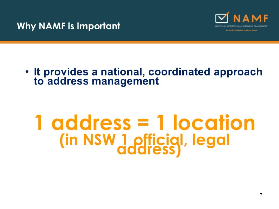 Example: leveraging address management transaction log a complete record of service delivery, available for analysis, performance assessment, mapping… Date, TimeAddressIDCDid 20050712143249 Bell Street Coburg North472010342 20050712143617 Hill Road Toorak132010342 2005071214383 Smith Avenue Kew472010342 ………… 200050712163248 Kew Avenue, Brighton232010342 20005071217056/12 Bond Street, Brunswick472010342 2000507121724345 Whitehorse Road, Doncaster1122010342 200050712181217 Bailey Road, Ballarat472010342 18