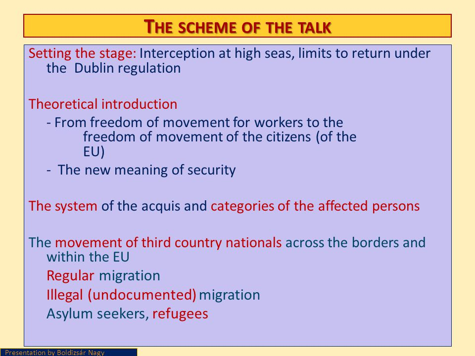T HE SCHEME OF THE TALK Setting the stage: Interception at high seas, limits to return under the Dublin regulation Theoretical introduction - From fre