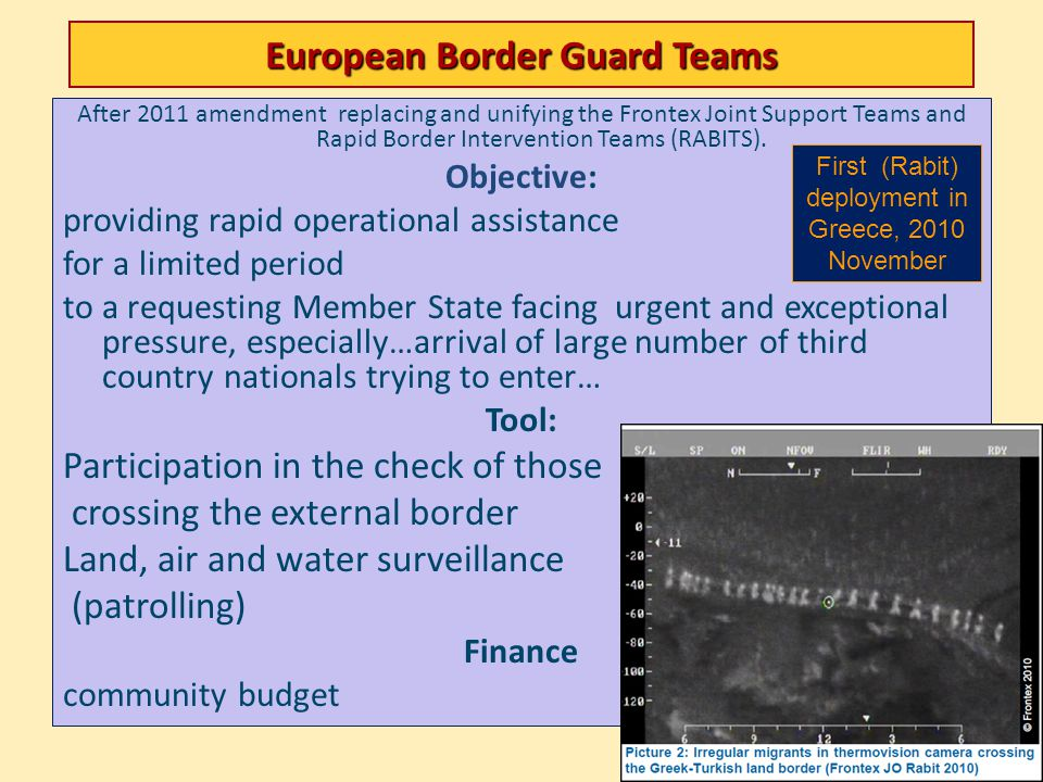 European Border Guard Teams After 2011 amendment replacing and unifying the Frontex Joint Support Teams and Rapid Border Intervention Teams (RABITS).