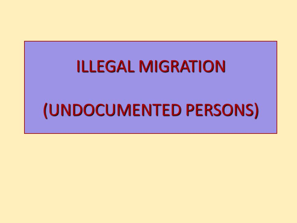 ILLEGAL MIGRATION (UNDOCUMENTED PERSONS)