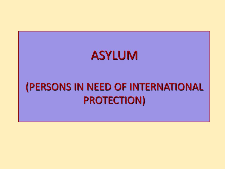 ASYLUM (PERSONS IN NEED OF INTERNATIONAL PROTECTION)
