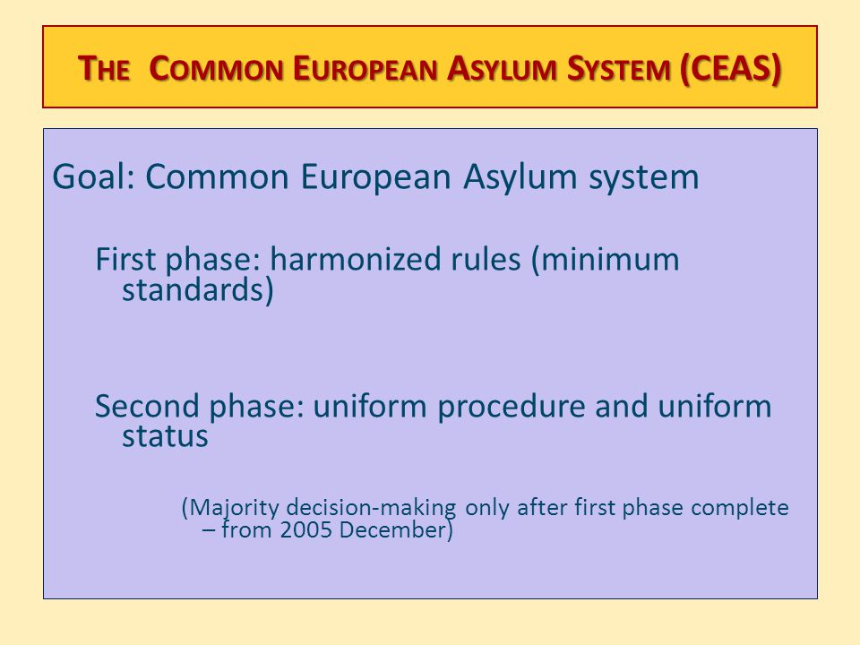 T HE C OMMON E UROPEAN A SYLUM S YSTEM (CEAS) Goal: Common European Asylum system First phase: harmonized rules (minimum standards) Second phase: unif