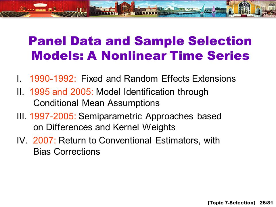[Topic 7-Selection] 25/81 Panel Data and Sample Selection Models: A Nonlinear Time Series I.