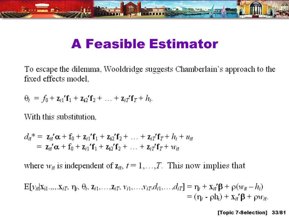 [Topic 7-Selection] 33/81 A Feasible Estimator