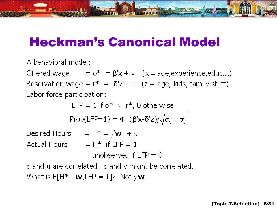 [Topic 7-Selection] 5/81 Heckmans Canonical Model
