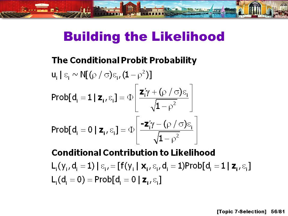 [Topic 7-Selection] 56/81 Building the Likelihood