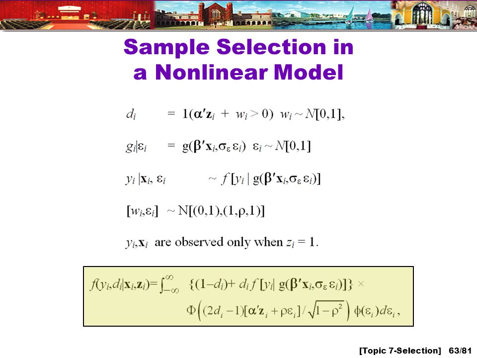[Topic 7-Selection] 63/81 Sample Selection in a Nonlinear Model