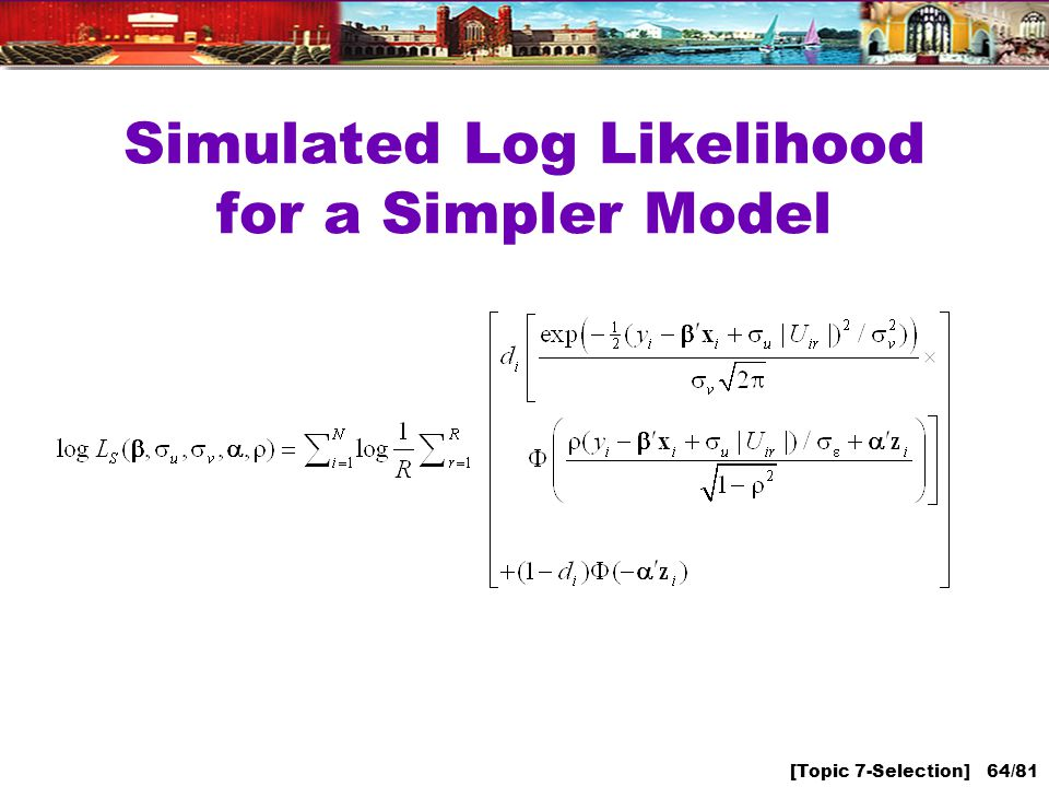 [Topic 7-Selection] 64/81 Simulated Log Likelihood for a Simpler Model