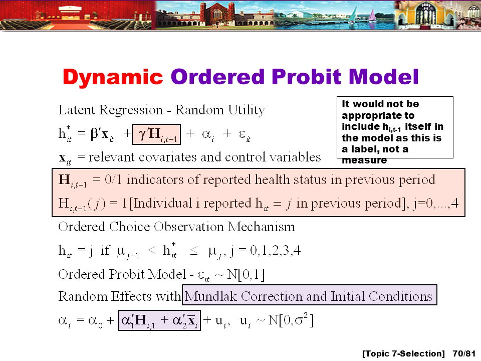 [Topic 7-Selection] 70/81 Dynamic Ordered Probit Model It would not be appropriate to include h i,t-1 itself in the model as this is a label, not a measure