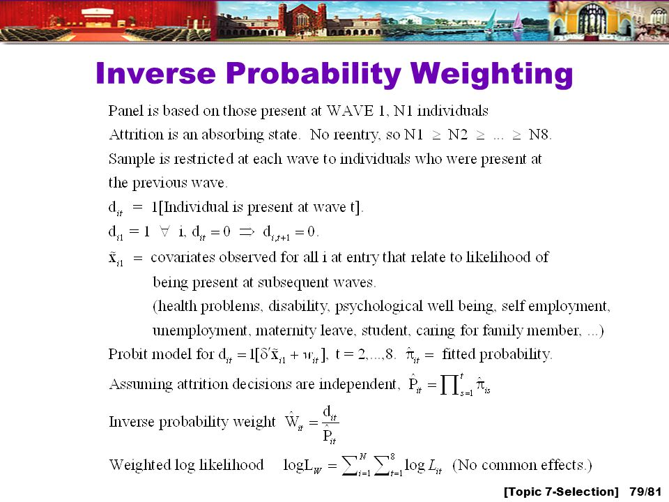 [Topic 7-Selection] 79/81 Inverse Probability Weighting