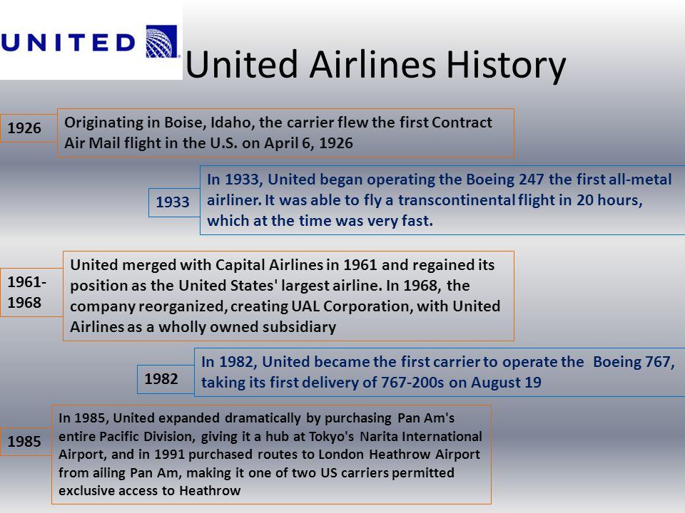 United Airlines History Originating in Boise, Idaho, the carrier flew the first Contract Air Mail flight in the U.S. on April 6, 1926 In 1933, United