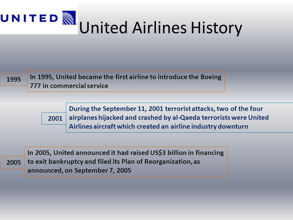 United Airlines History 1995 In 1995, United became the first airline to introduce the Boeing 777 in commercial service During the September 11, 2001