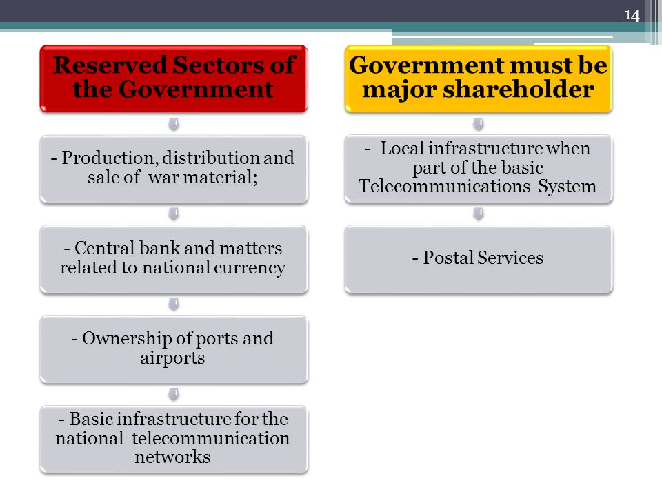 Reserved Sectors of the Government - Production, distribution and sale of war material; - Central bank and matters related to national currency - Owne