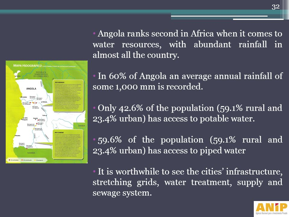 Angola ranks second in Africa when it comes to water resources, with abundant rainfall in almost all the country. In 60% of Angola an average annual r