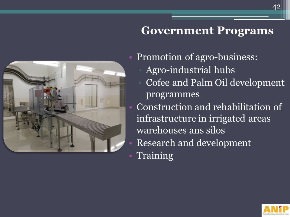 Government Programs Promotion of agro-business: Agro-industrial hubs Cofee and Palm Oil development programmes Construction and rehabilitation of infr