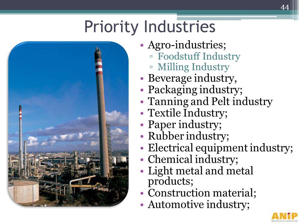 Priority Industries Agro-industries; Foodstuff Industry Milling Industry Beverage industry, Packaging industry; Tanning and Pelt industry Textile Indu