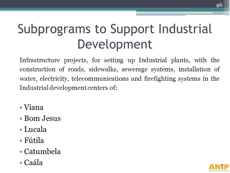 Subprograms to Support Industrial Development Infrastructure projects, for setting up Industrial plants, with the construction of roads, sidewalks, se