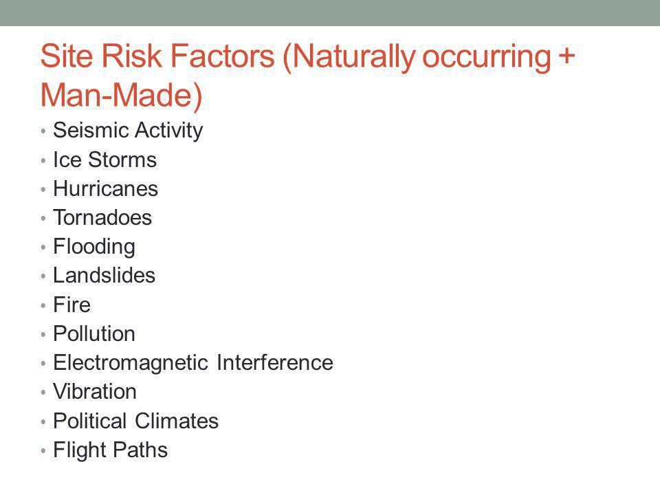 Site Risk Factors (Naturally occurring + Man-Made) Seismic Activity Ice Storms Hurricanes Tornadoes Flooding Landslides Fire Pollution Electromagnetic Interference Vibration Political Climates Flight Paths