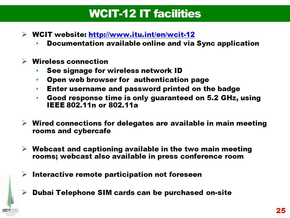 WCIT-12 IT facilities WCIT website: http://www.itu.int/en/wcit-12http://www.itu.int/en/wcit-12 Documentation available online and via Sync application