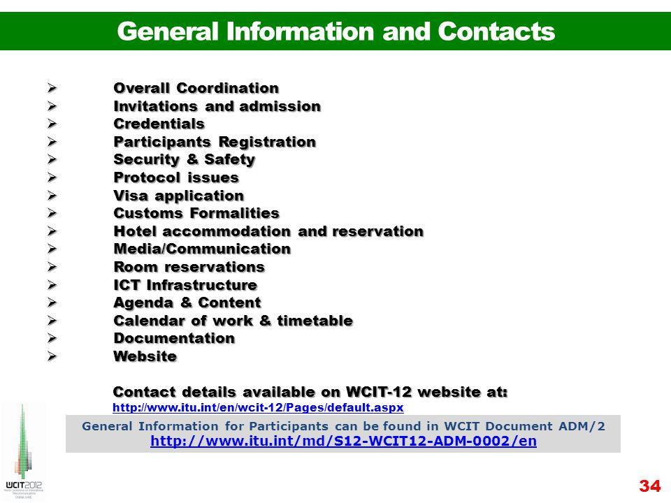 34 Overall Coordination Overall Coordination Invitations and admission Invitations and admission Credentials Credentials Participants Registration Par