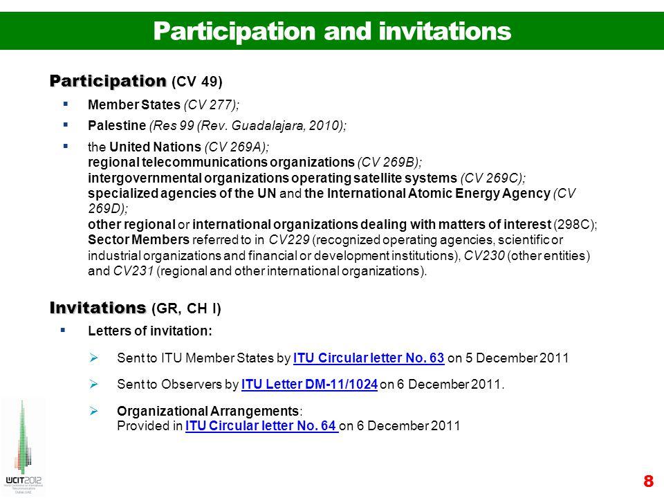 Participation and invitations Participation Participation (CV 49) Member States (CV 277); Palestine (Res 99 (Rev. Guadalajara, 2010); the United Natio