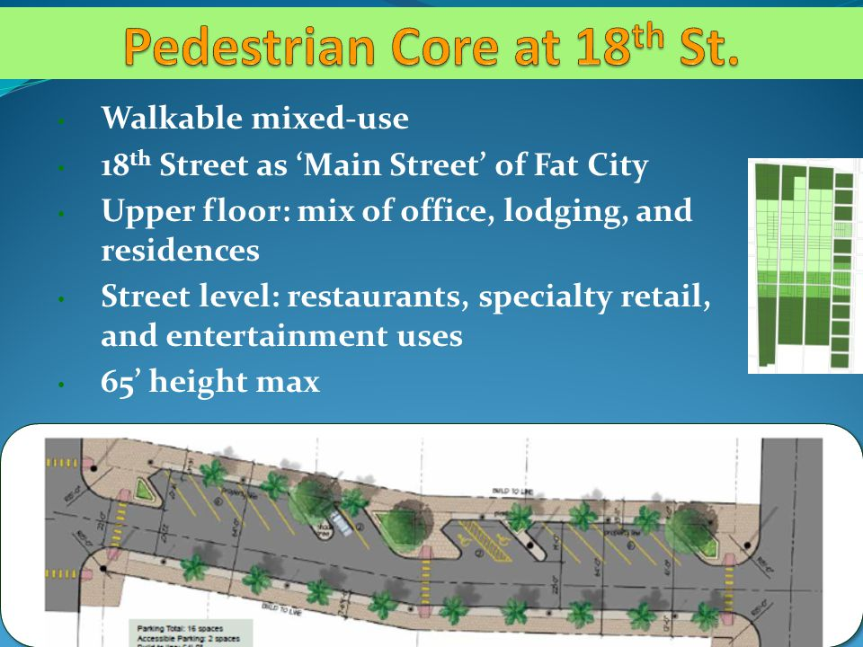 Walkable mixed-use 18 th Street as Main Street of Fat City Upper floor: mix of office, lodging, and residences Street level: restaurants, specialty retail, and entertainment uses 65 height max
