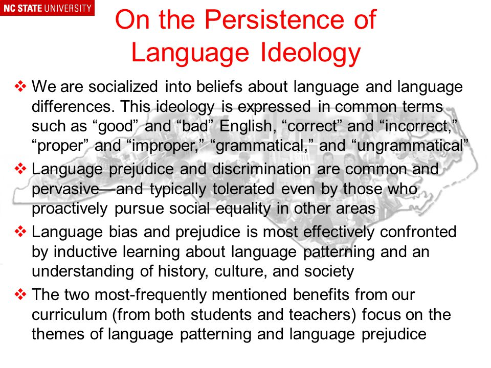 Preview of Webinar Response to Questions & Comments -The persistence of language ideology -Review a-prefixing -Review r-dropping -Dialect and the media North Carolina Language History Introduction to Regional Dialects Regional Dialects of the Carolinas, including: –Language and dialect endangerment –Outer Banks language history –Appalachian language history –Cherokee language