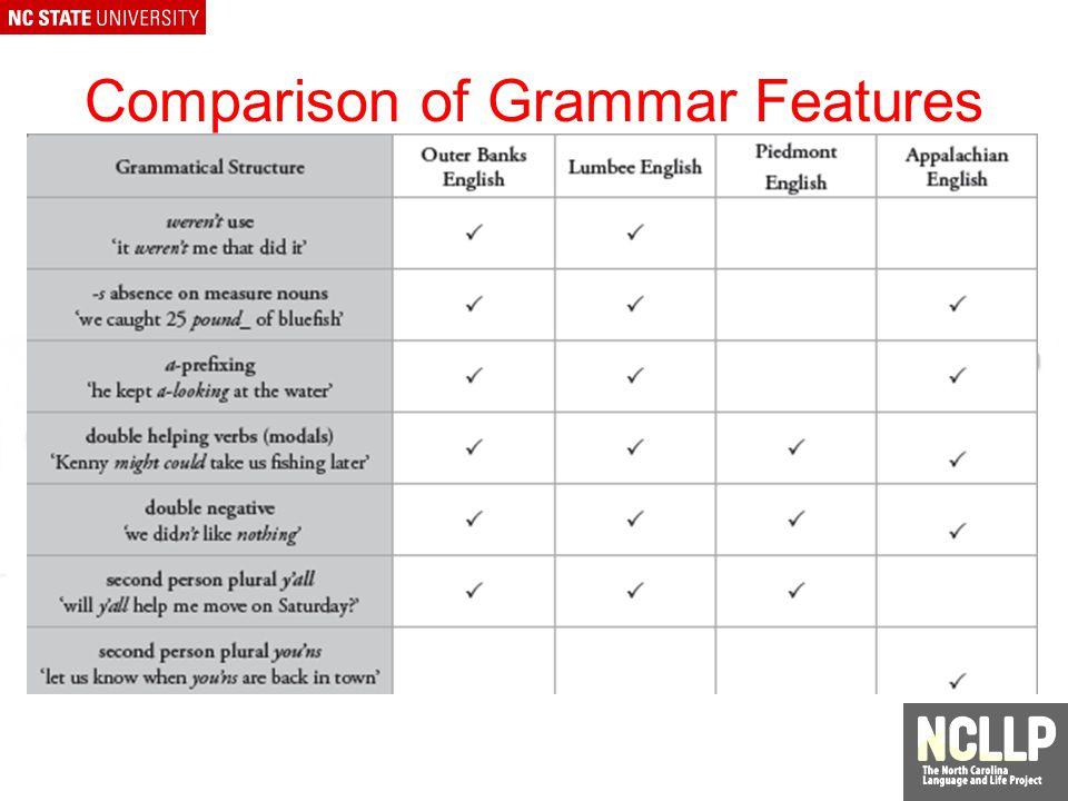 Comparison of Pronunciation Features