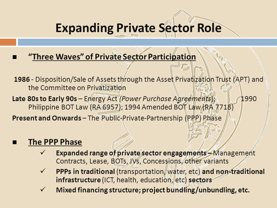 Three Waves of Private Sector Participation 1986 - Disposition/Sale of Assets through the Asset Privatization Trust (APT) and the Committee on Privati