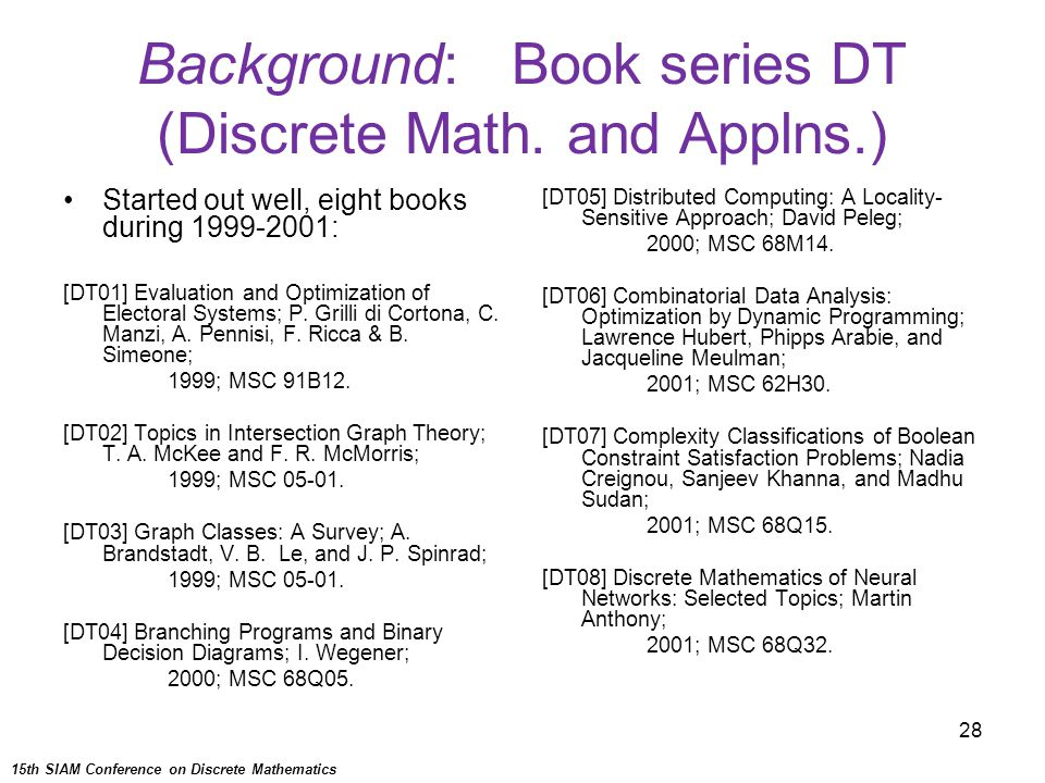 28 Background: Book series DT (Discrete Math. and Applns.) Started out well, eight books during 1999-2001: [DT01] Evaluation and Optimization of Elect