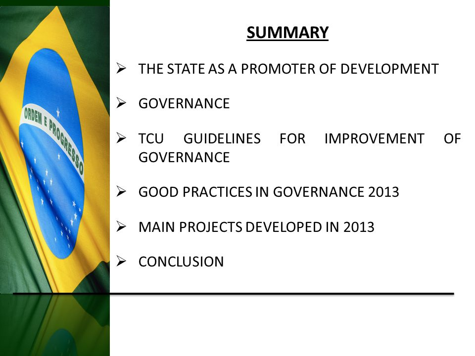 Brazil 2013 GDP R$ 4.8 trillion Federal Budget R$ 2.48 trillion (budgeted in 2013) R$ 2.0 trillion (executed in 2013) How much the country produced Government expenditure and debt rollover THE STATE IS A STRONG PROMOTOER OF DEVELOPMENT States (R$ 430 bi) and Municipalities (R$ 350 bi) spent R$ 780 billion (Source: IBGE – data from 2011) Source: OFSS 2013 and IBGE