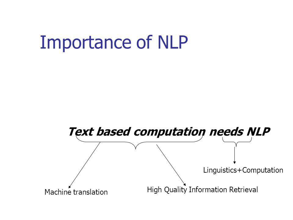 Importance of NLP Text based computation needs NLP Machine translation High Quality Information Retrieval Linguistics+Computation