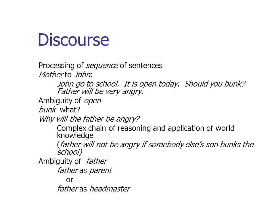 Discourse Processing of sequence of sentences Mother to John: John go to school.