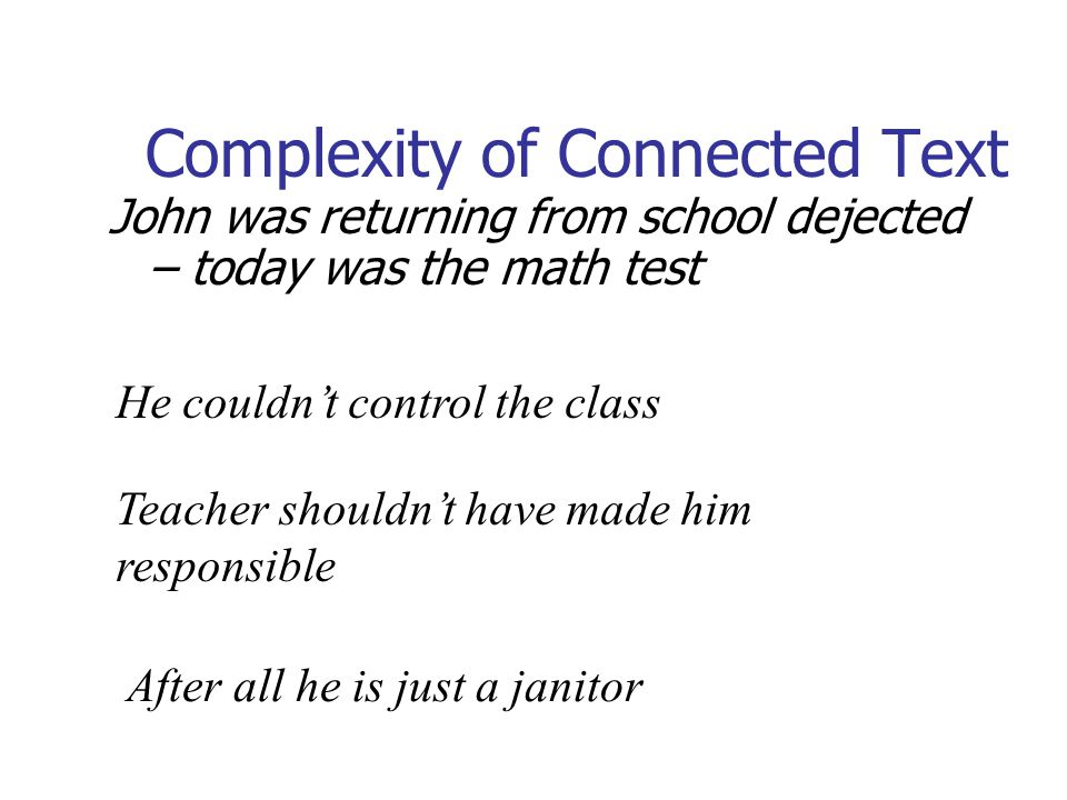 Complexity of Connected Text John was returning from school dejected – today was the math test He couldnt control the class Teacher shouldnt have made him responsible After all he is just a janitor