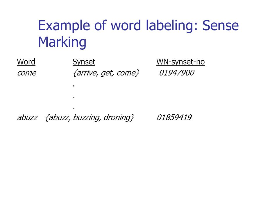 Example of word labeling: Sense Marking WordSynsetWN-synset-no come{arrive, get, come} 01947900. abuzz{abuzz, buzzing, droning}01859419
