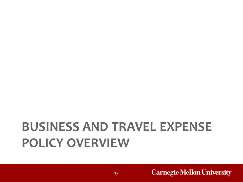 13 BUSINESS AND TRAVEL EXPENSE POLICY OVERVIEW