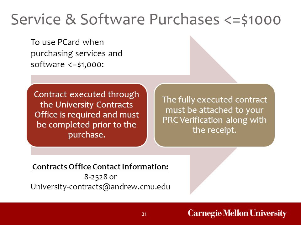 21 Contract executed through the University Contracts Office is required and must be completed prior to the purchase. The fully executed contract must