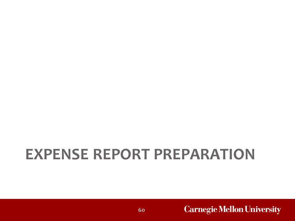 60 EXPENSE REPORT PREPARATION