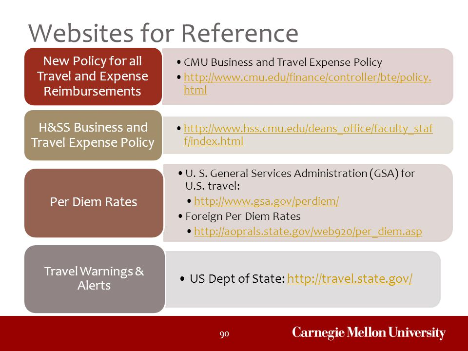 90 Websites for Reference CMU Business and Travel Expense Policy http://www.cmu.edu/finance/controller/bte/policy. htmlhttp://www.cmu.edu/finance/cont
