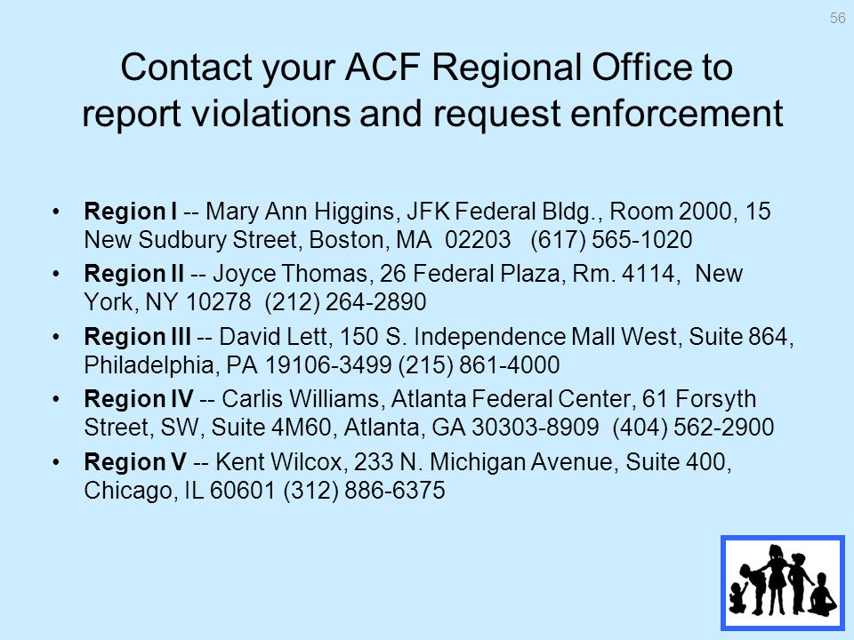 Contact your ACF Regional Office to report violations and request enforcement Region I -- Mary Ann Higgins, JFK Federal Bldg., Room 2000, 15 New Sudbury Street, Boston, MA (617) Region II -- Joyce Thomas, 26 Federal Plaza, Rm.
