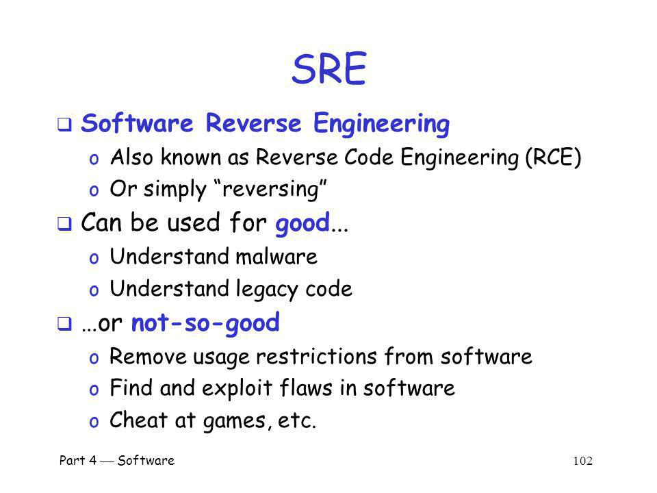 Part 4 Software 101 Software Reverse Engineering (SRE)