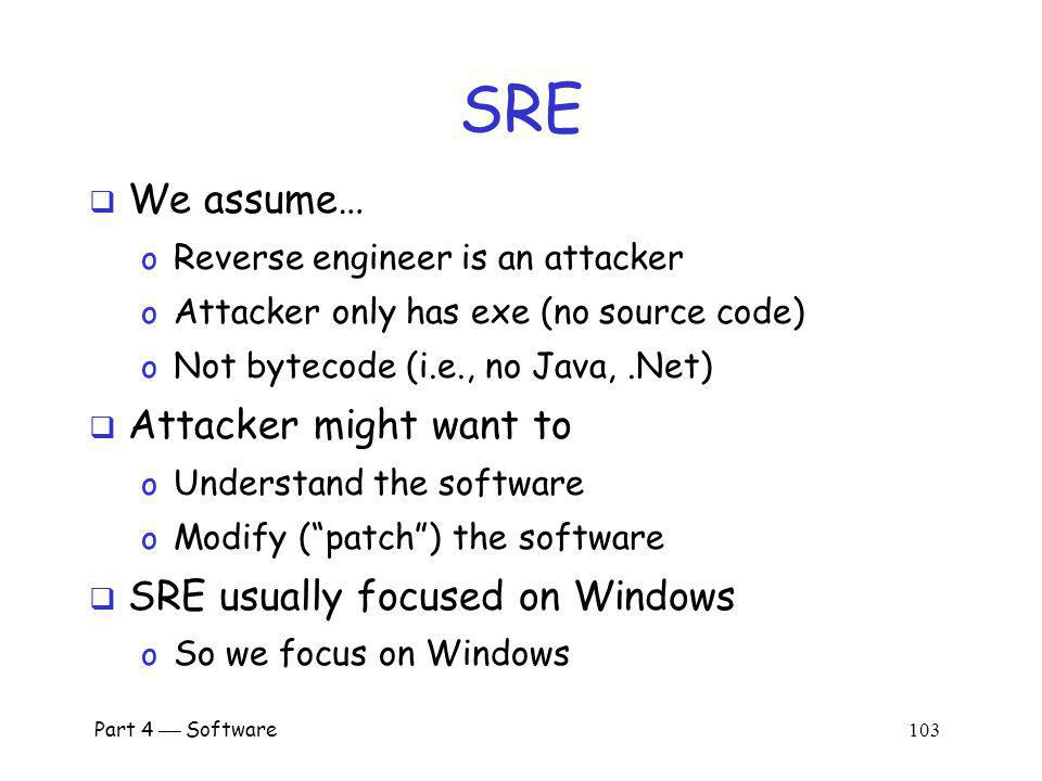 Part 4 Software 102 SRE Software Reverse Engineering o Also known as Reverse Code Engineering (RCE) o Or simply reversing Can be used for good...